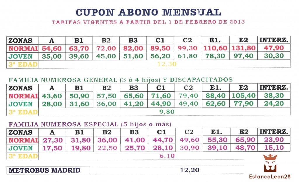 precios abono transporte 001