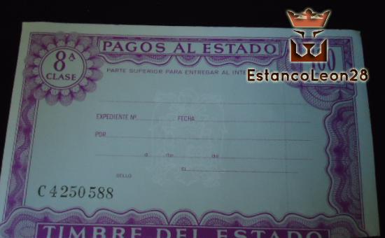 Letras de cambio, pagos del estado, impresos, contratos de arrendamiento, timbres móviles, papel timbrado, modelos de contrato, impresos oficiales